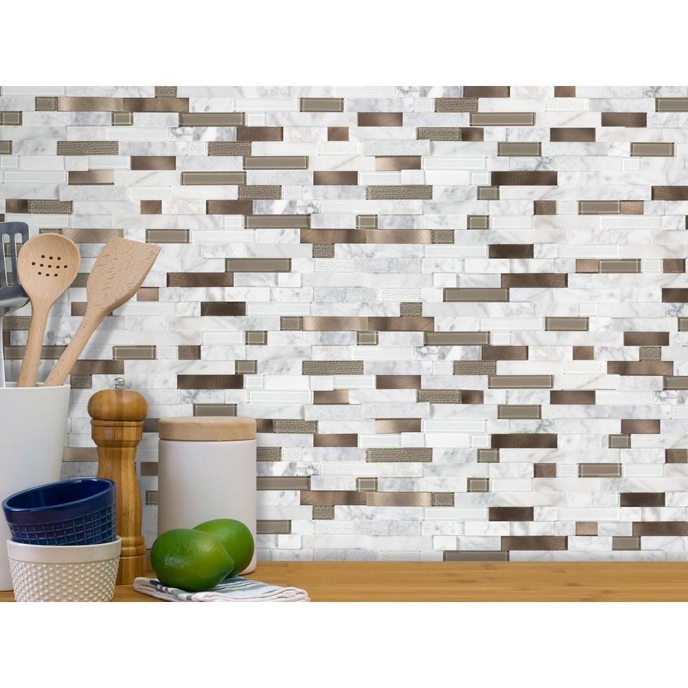 Uptown Bronze Linear Metal Peel And Stick Mosaic In 2021 Metal Backsplash Kitchen Metallic Backsplash Floor Decor