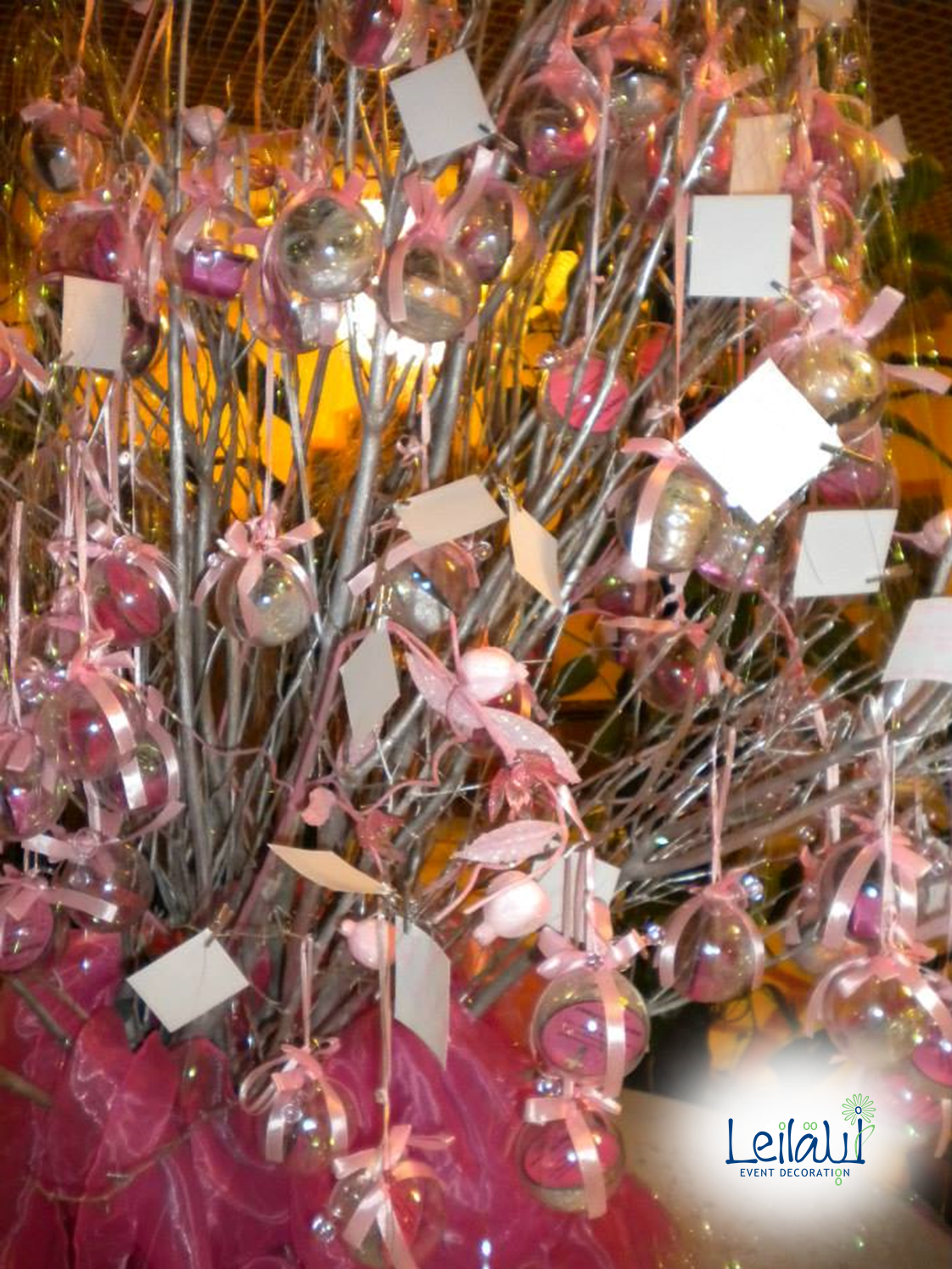 Silver tree guestbook at entrance for Pink and White Themed Baby Shower Party Decorations by Leila Events (01006). For orders or further info call or whatsapp +201222220889