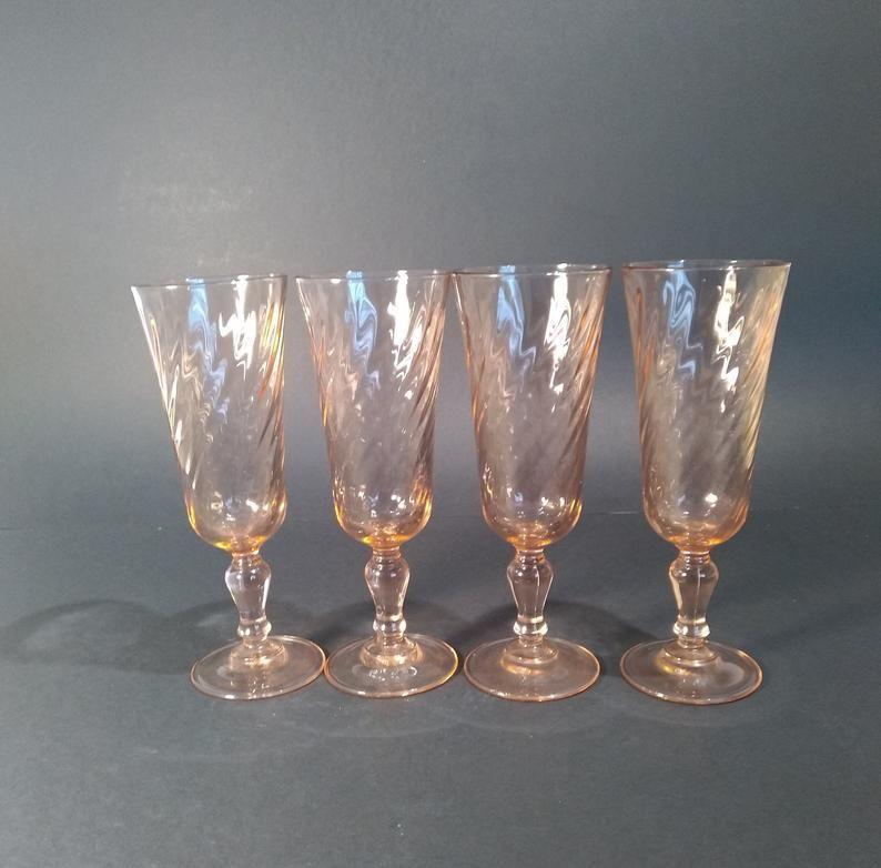 """4 Arcoroc Luminarc """"Rosaline"""" pattern Pink Swirl glasses"""