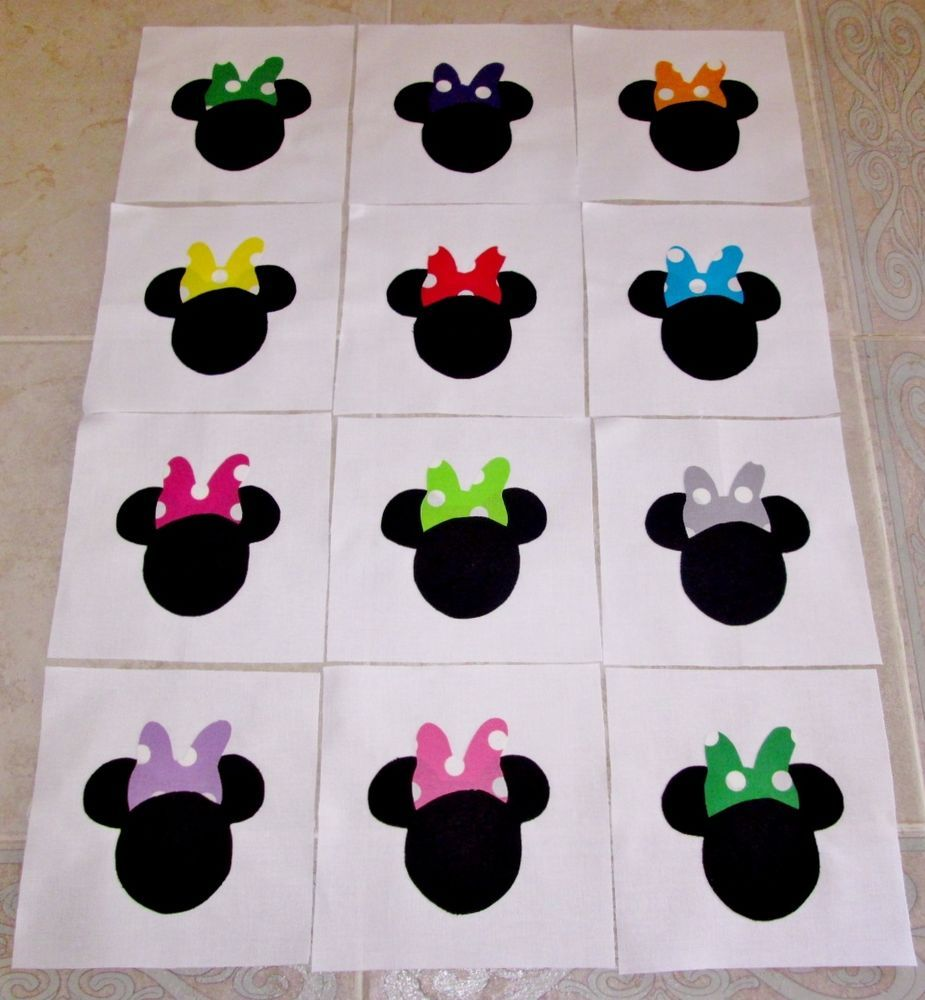 "Set of 12 Mouse Head w/Bows Applique  6"" x 6"" Quilt  Blocks #Unbranded"