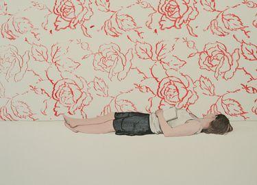 "Saatchi Art Artist Karoline Kroiß; Painting, ""girl reading / Leserin SOLD"" #art"