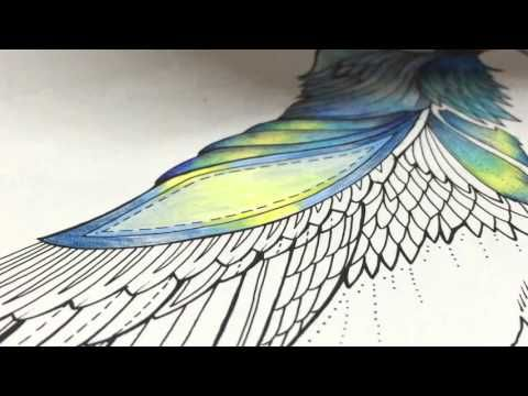 ASMR Adult Coloring Enchanted Forest Blue Bird 7 Blended Pencil Prismacolor Premier