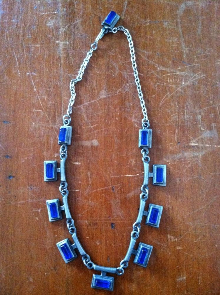Vtg R TENN Swedish Modernist Mid Century Modern - Pewter & Blue Glass Necklace #RTenn