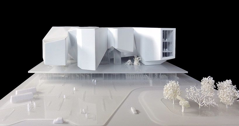 model of the winning proposal shows a pragmatic basement level topped by the asymmetric monumental forms image © studio fuksas / SPEECH