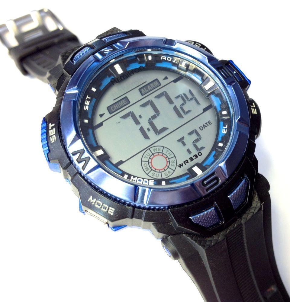 Armitron Mens Watch Blue Black WR 100M 40/8271 Alarm