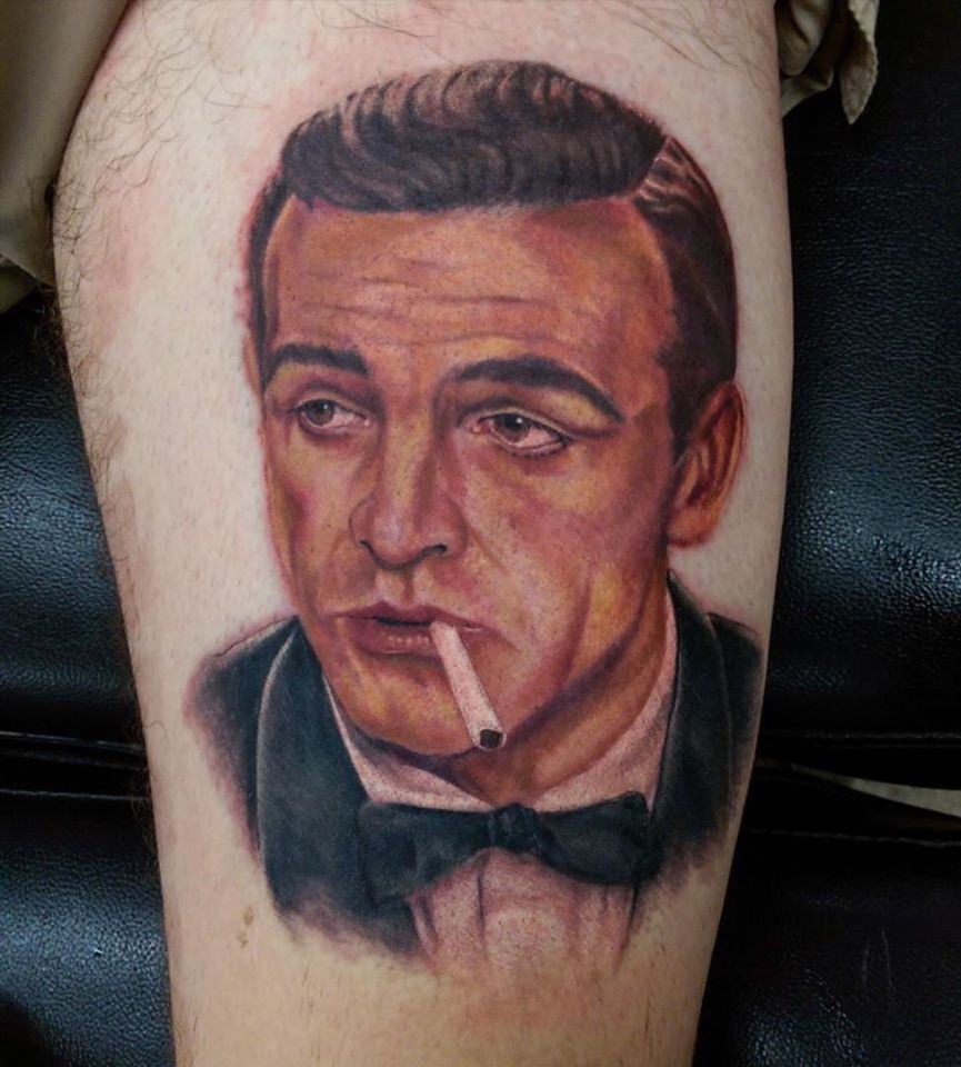 James Bond 007 Sean Connery Portrait Tattoo By Devin Zimmerman