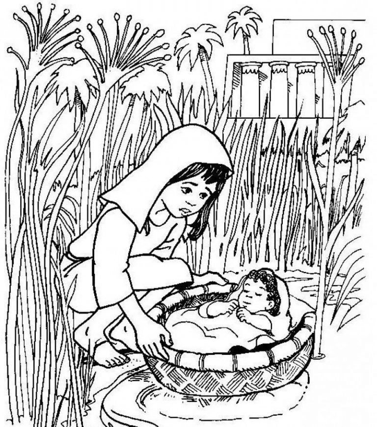 Coloring Page Of Baby Moses Basket Saved Moses Life 8150 Bible Coloring Pages Bible Coloring Bible Crafts