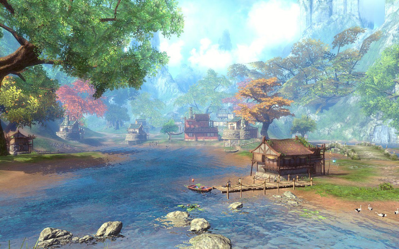 "Blade and Soul China - Outside Environment 6 by Lawlaii on deviantART Another fantasy environment. It's almost like the designer tried to go for a ""living watercolor"" kind of look, reminiscent of ""What Dreams May Come""."