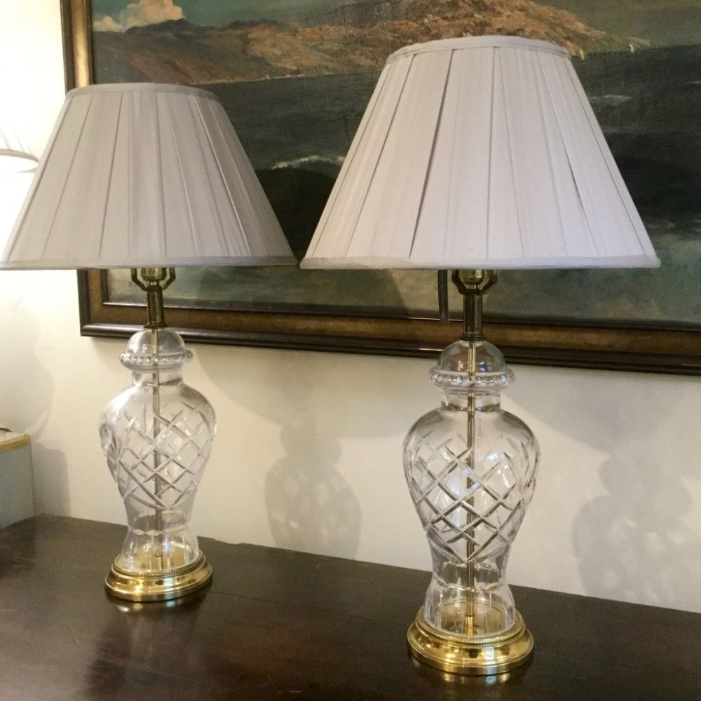 Pair Of Cut Glass Vase Body Table Lamps