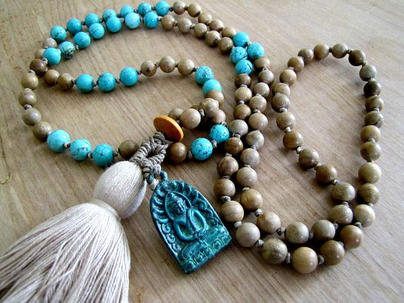 Hand Knotted 108 Bead Mala with Matte Turquoise Magnesite Long Beaded Necklace Tassel Meditation Beads