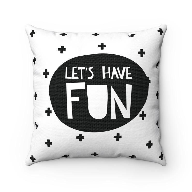Kid throw pillow Black and white pillow Toddler pillowcase Nursery decor boy Monochrome nursery