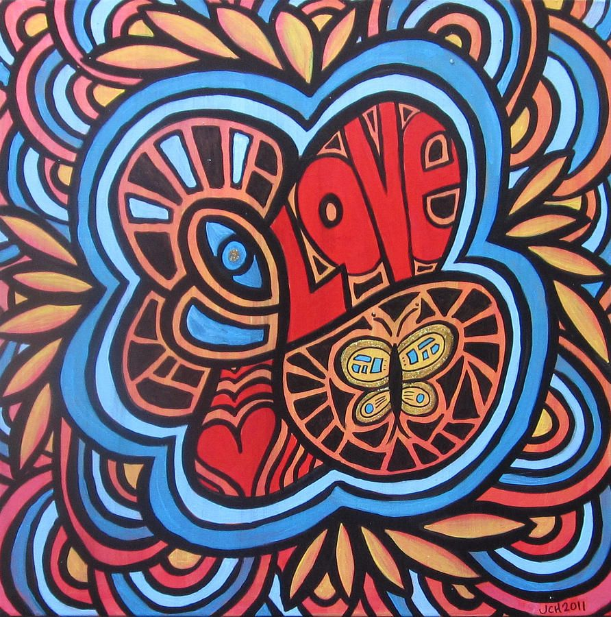 Love flower power daisy graffiti print cotton fabric 60s 70s retro - Hippie Art From The 60s Hippie Love Painting By Jo Claire Hall Hippie Love