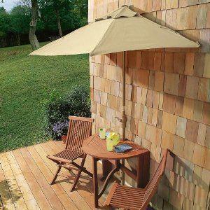 half round patio umbrella table and 2