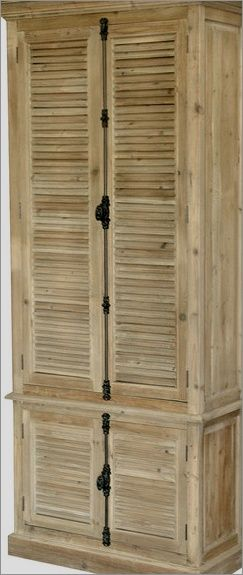 Reclaimed Wood Cabinet Doors french country reclaimed wood louvered door hutch cabinet - http