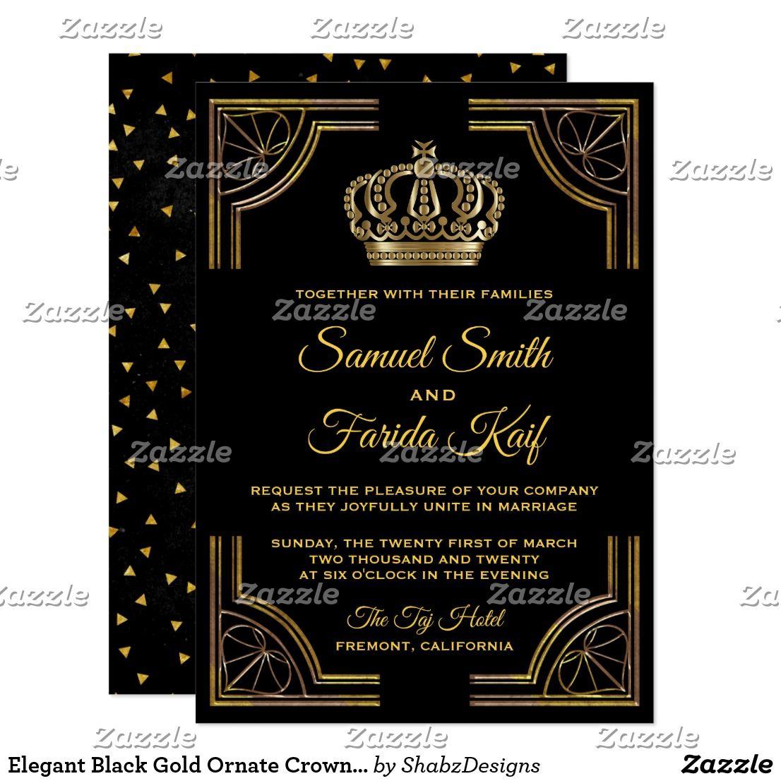 Elegant Black Gold Ornate Crown Wedding Invitation Muslim
