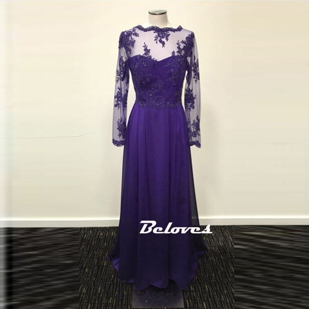 Purple illusion long sleeve v back prom dress with lace appliques