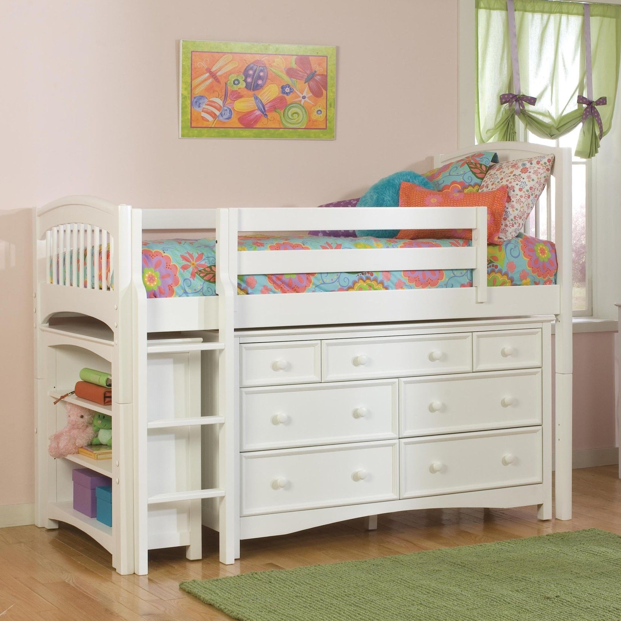 Bolton Furniture Windsor Twin Low Loft Bed with Bookcase