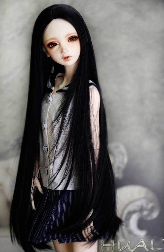 "7-8/"" 1//4 BJD Long Triple Arc Tips Bangs Black Buckle Straight Wig Doll Hair KPZ5"