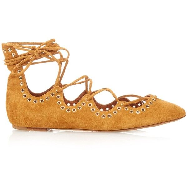 Isabel Marant Leo lace-up suede ballet flats (£370) ❤ liked on Polyvore featuring shoes, flats, light tan, ballet flat shoes, ballet pumps, tan flats, lace up flats and suede ballet flats