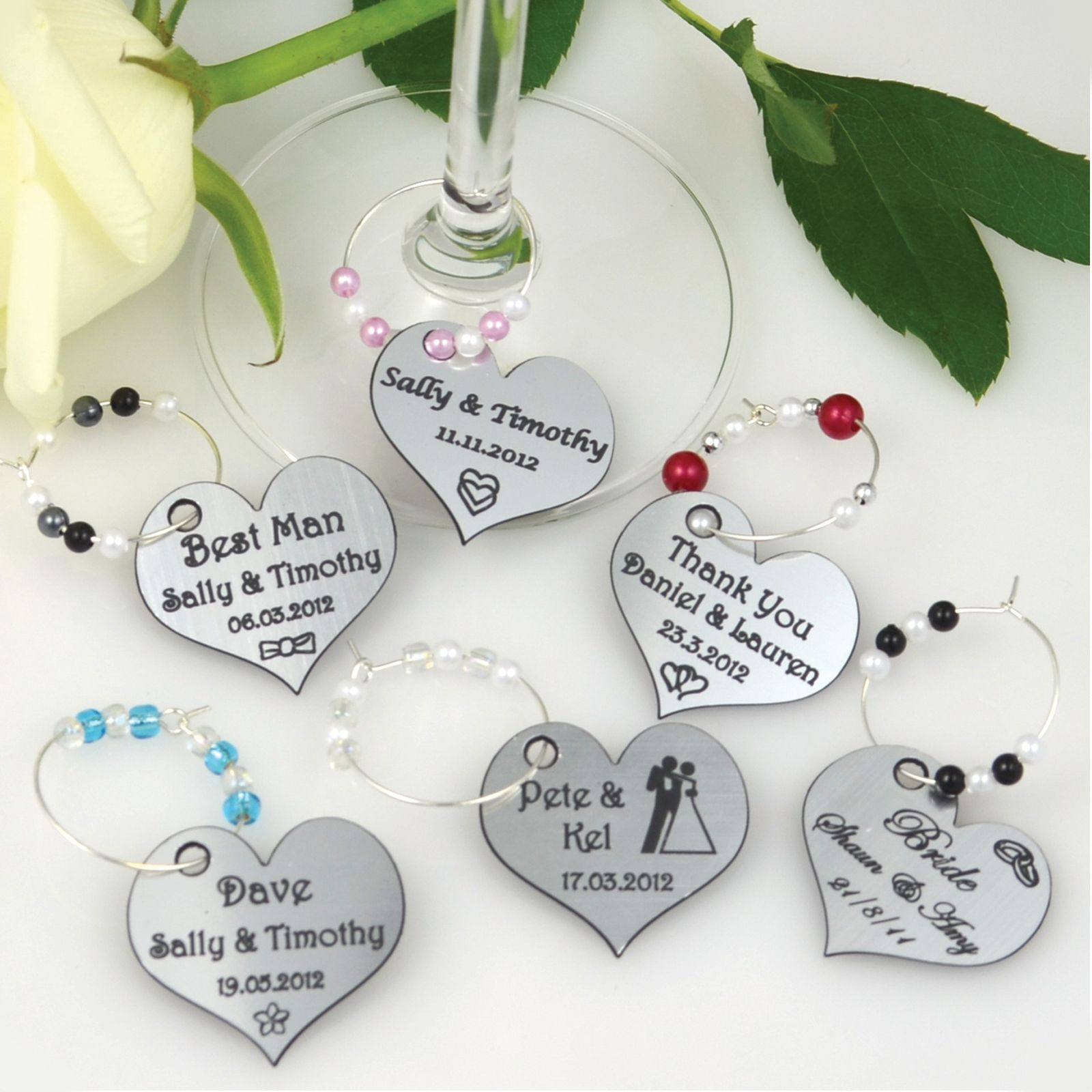 Engraved Wedding Wine Glass Charms | Wedding | Pinterest | Wedding ...