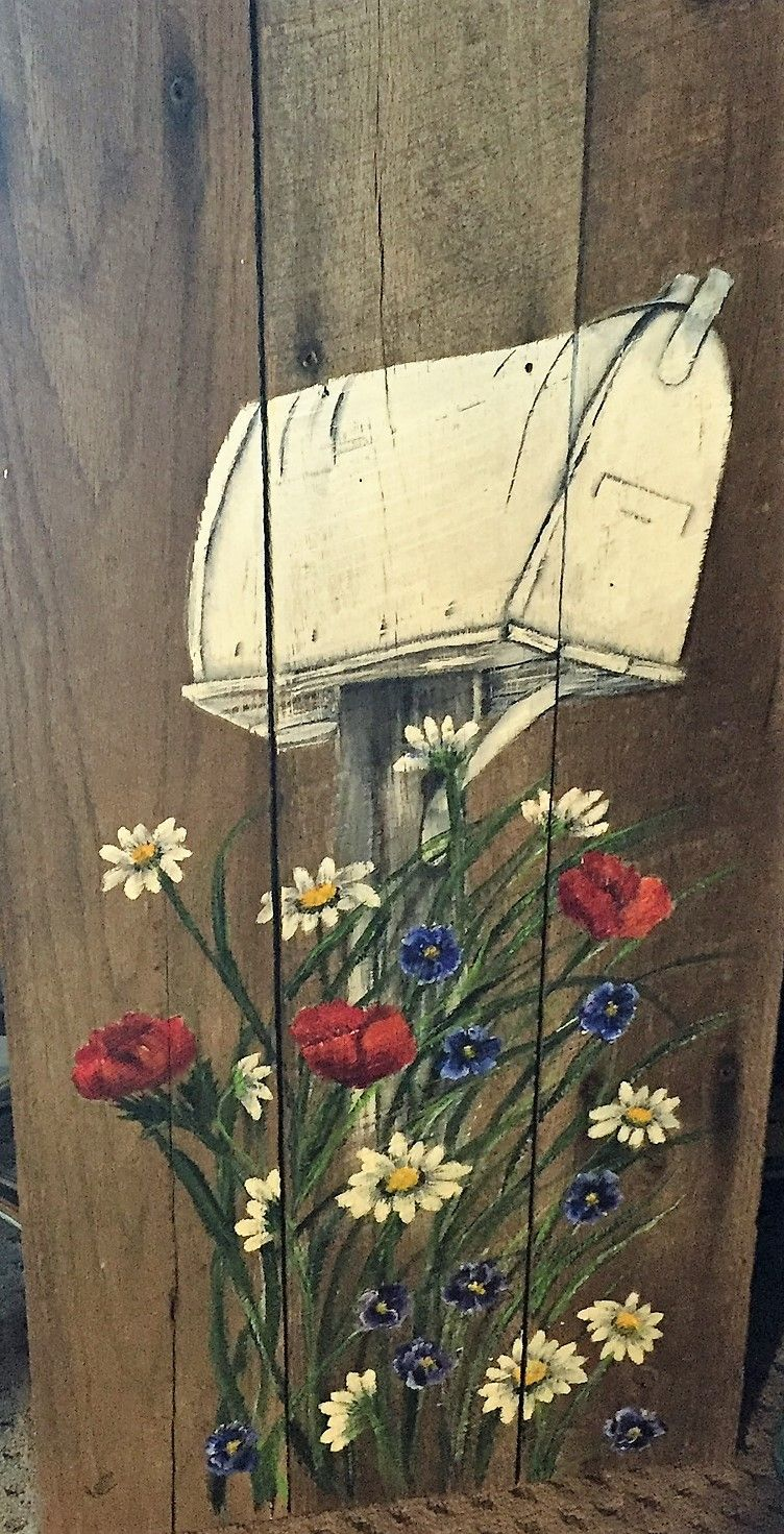 Flowers on Barnwood | My art KarensCraftyArt | Pinterest | Pinturas
