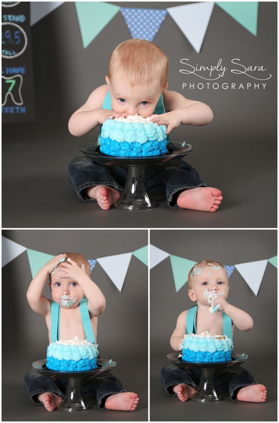1 year old boy photo shoot ideas poses cake smash home studio billings mt family child photographer