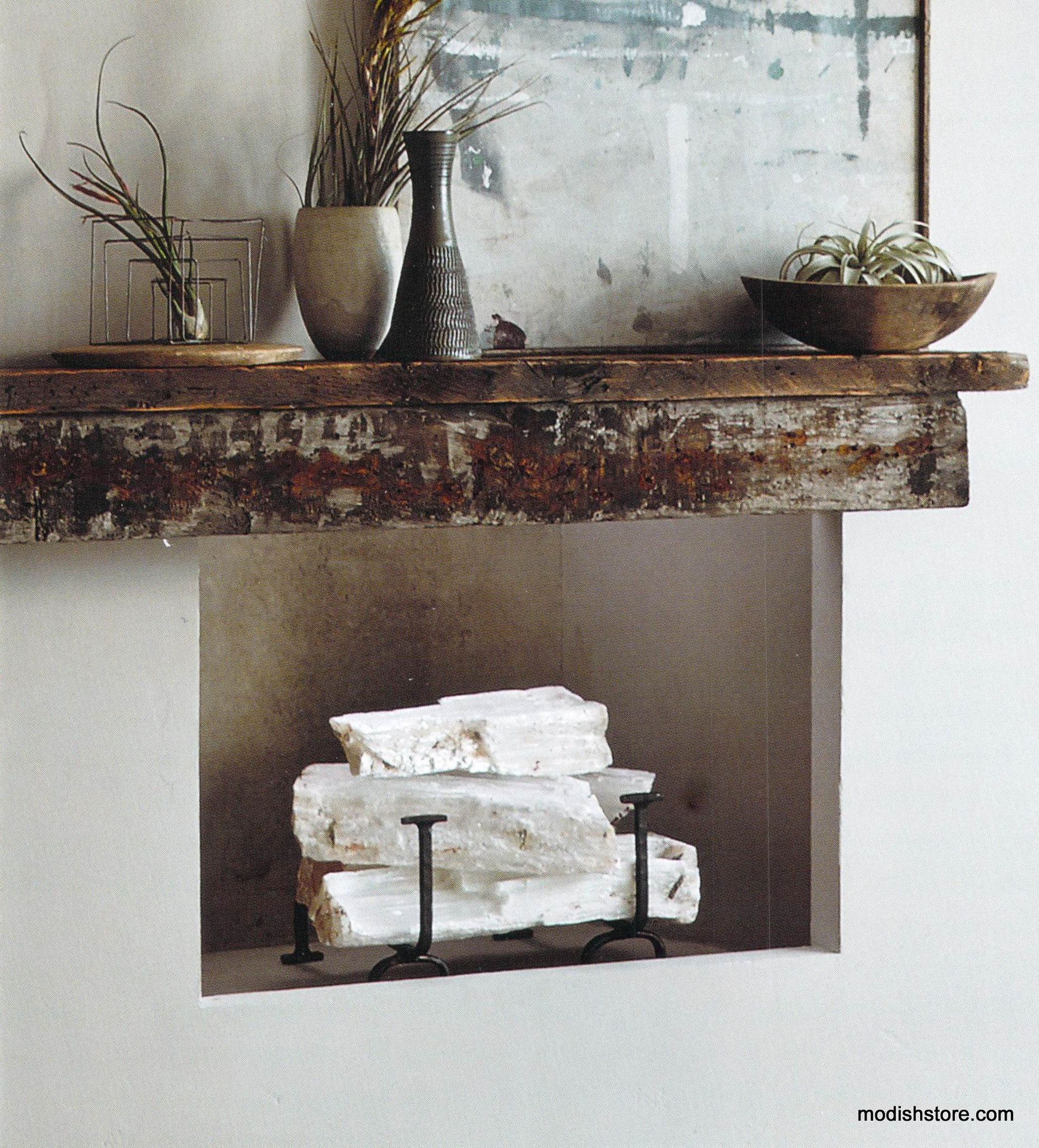 Add selenite logs to enliven your mantel and fireplace