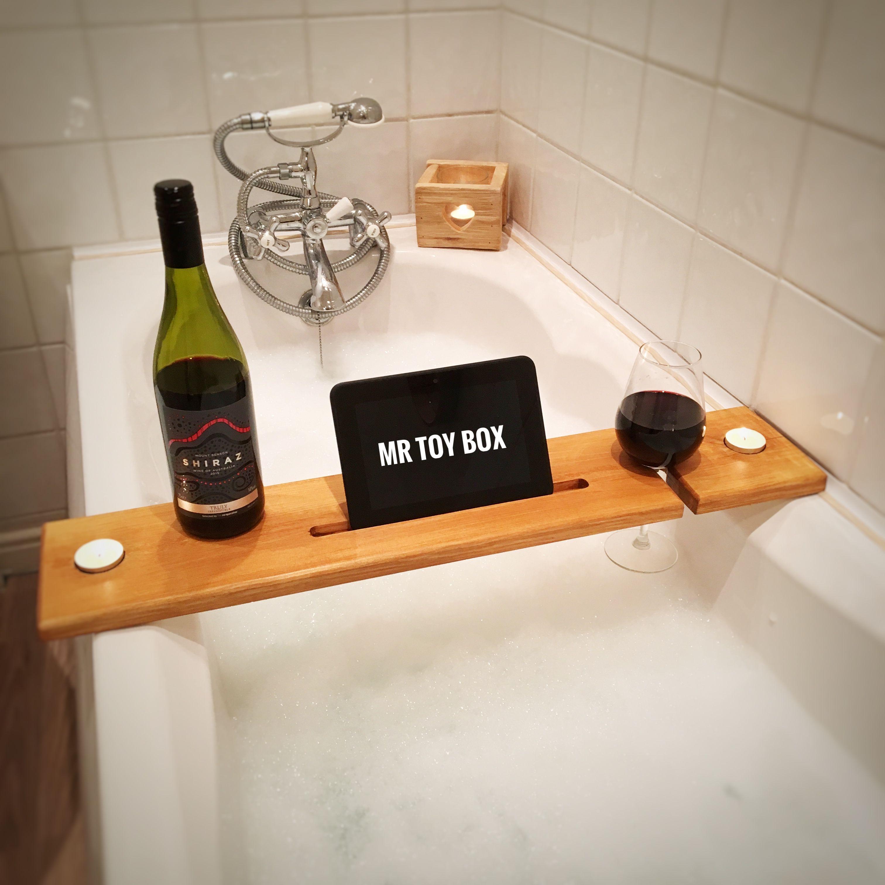 Wooden Bath board, Bath Caddy, Bath Tray. Wine and Tablet holder for ...