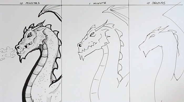 See How Sketches Created In 10 Seconds And 10 Minutes Differ
