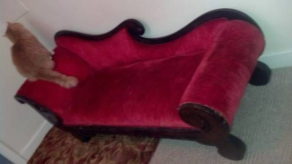 Reduced 1800s Antique Red Velvet Fainting Couch Fainting
