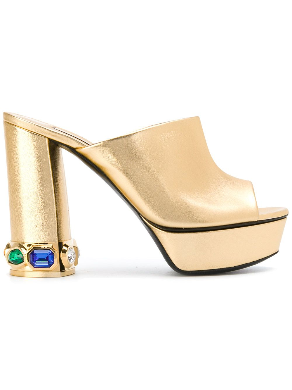 Designers Casadei Open Toe Platform Gold Mules For Women Selling Well