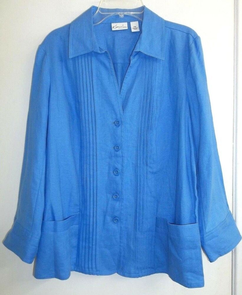 fef4ecb192a KIM ROGERS Petite Size Medium Blue Pleated 100% Linen Button Front Shirt  #KimRogers #