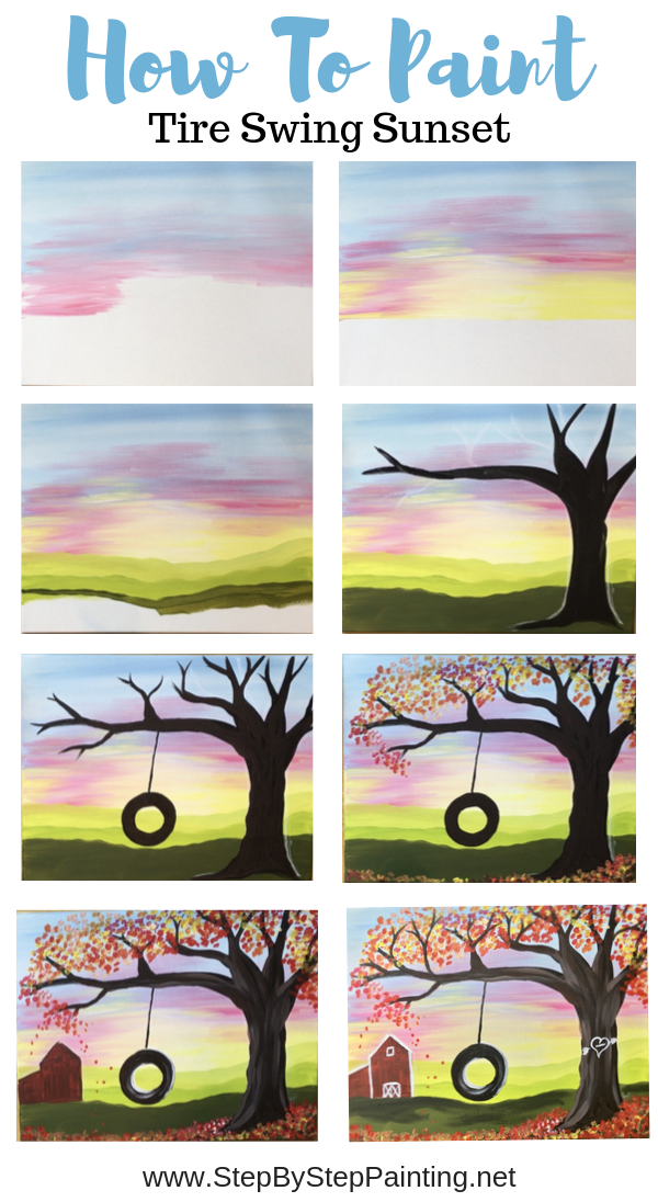 How To Paint Fall Tire Swing Canvas Painting Tutorials Painting Art Projects Canvas Painting Diy
