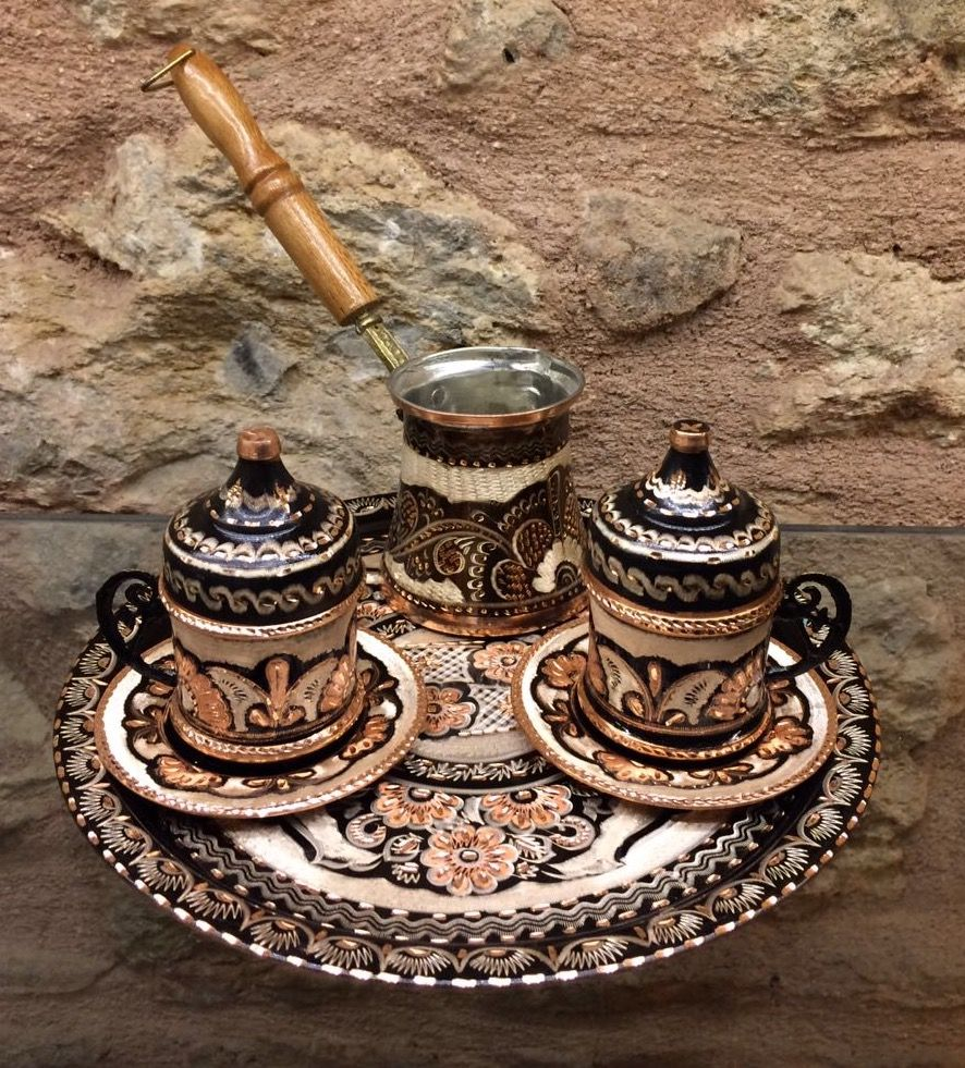 TURKISH COPPER COFFEE SET FOR TWO WITH COFFEE POT