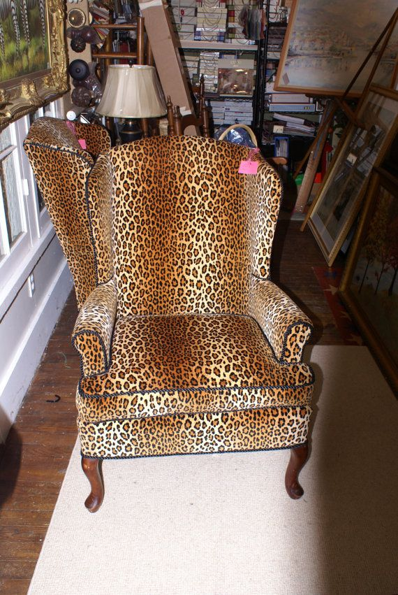 Leopard Print Velvet Wing Chair Wing Chair Chair