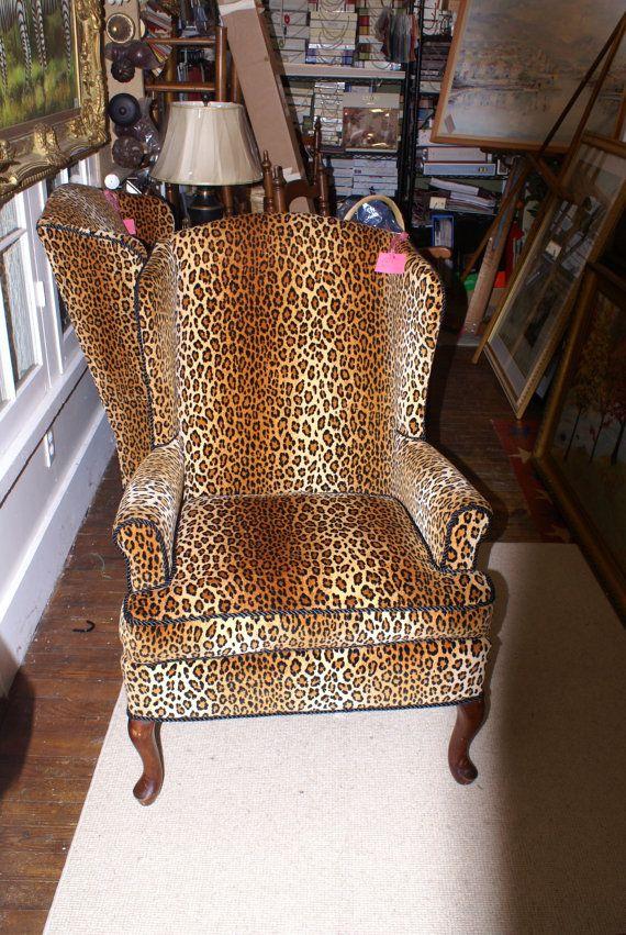 Leopard Print Velvet Wing Chair By Estategoods On Etsy Velvet