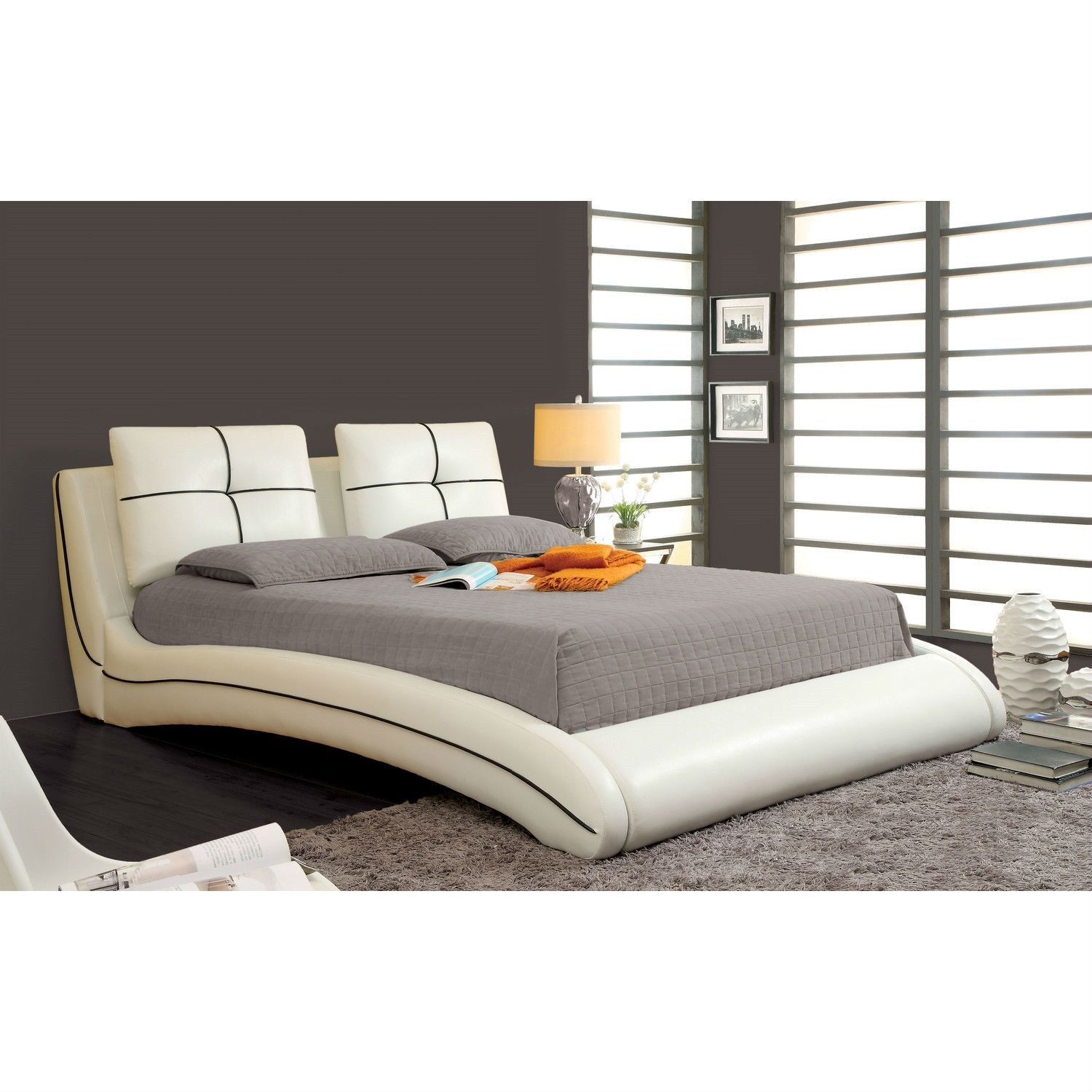 Queen Size Modern Curved Upholstered Bed With Padded Headboard In White Faux Leather California King Size Bed Leather Platform Bed Bed Frame And Headboard