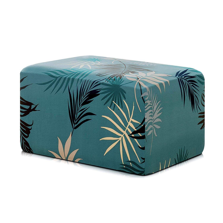 Subrtex ottoman slipcover spandex rectangle furniture protector stretch cover