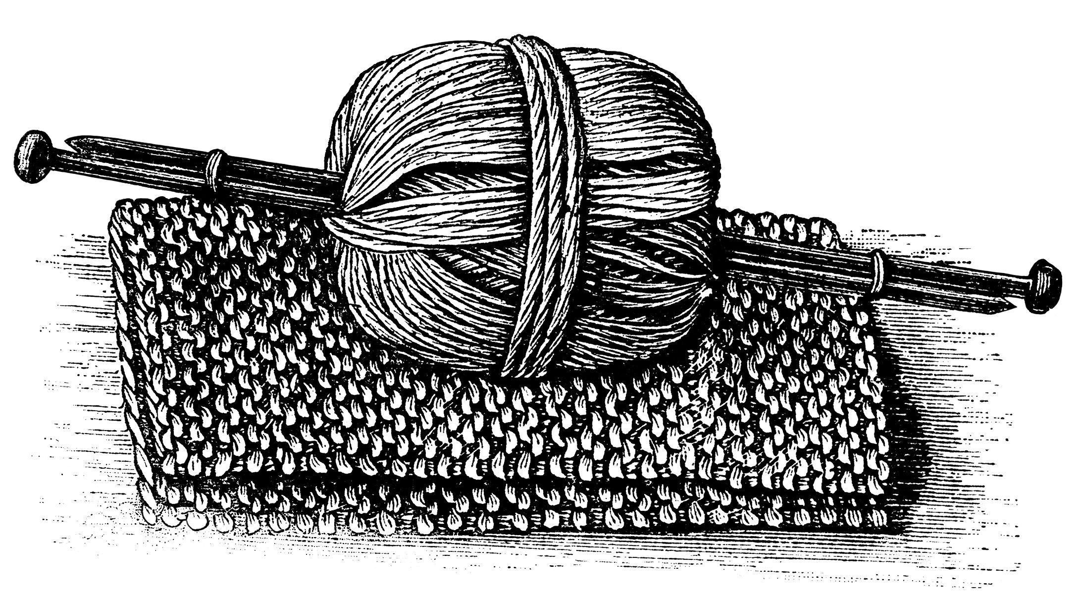 Knitting Needles And Yarn Clipart : Black and white graphics vintage knitting clipart ball