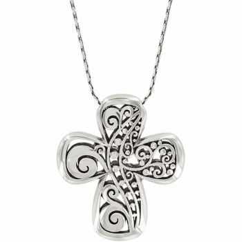 Reversible Cross Necklace Vine Design Sterling Silver with Chain