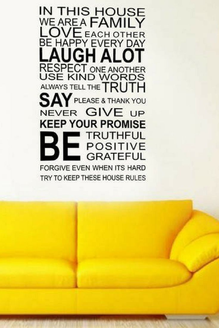 Family Rules quote wall sticker. This wall sticker quote measures 60 ...