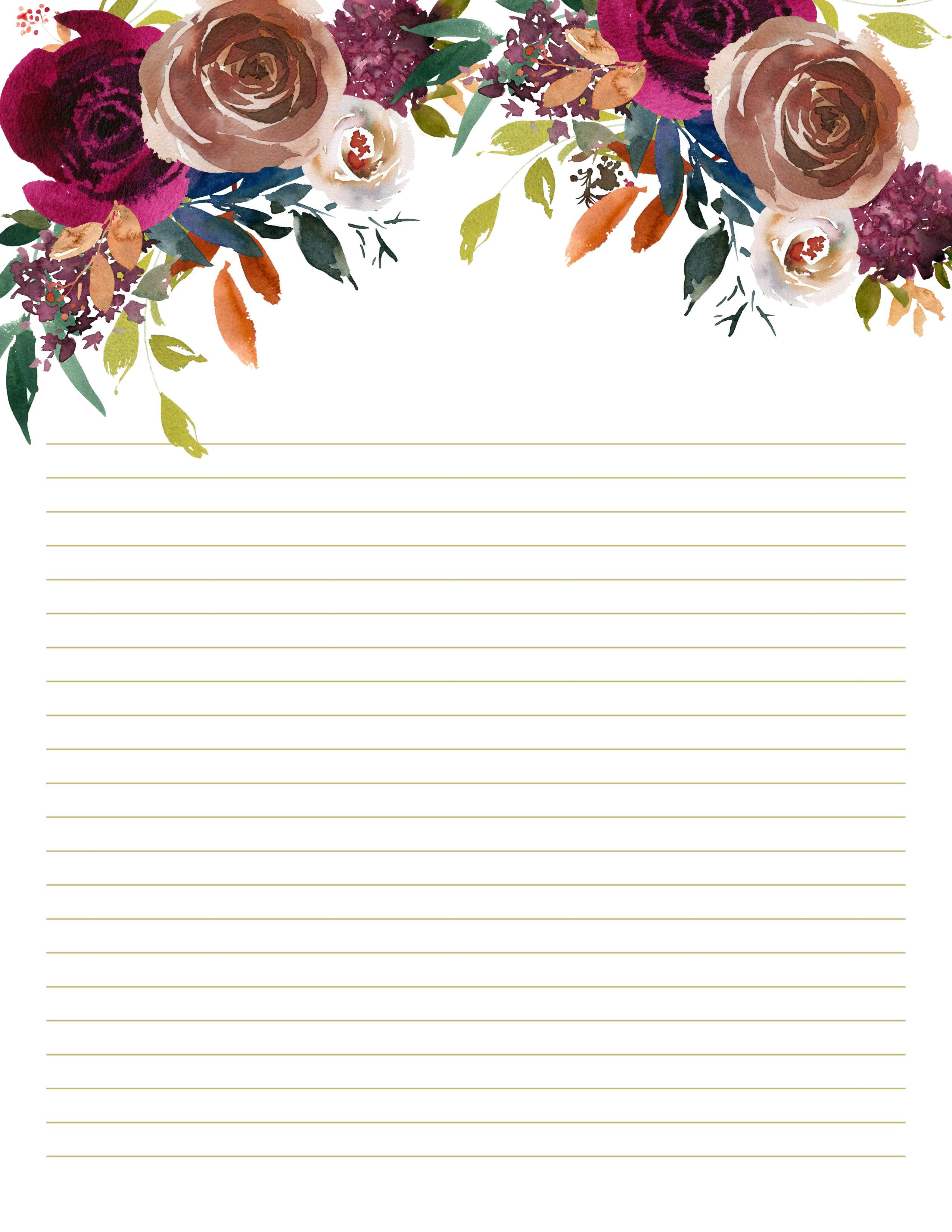 Rustic Floral Stationery Brown And Maroon Printable Us Etsy In 2020 Floral Stationery Writing Paper Printable Stationery Free Printable Stationery