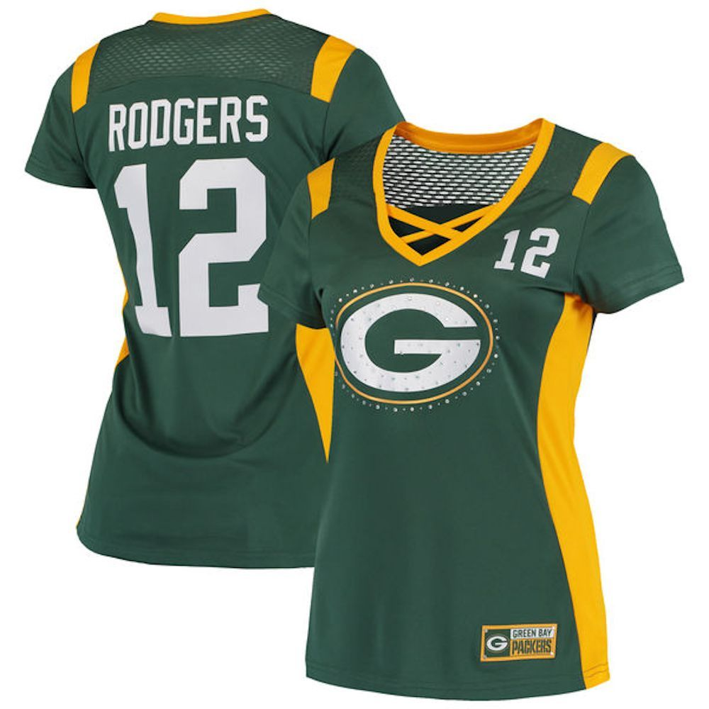 Packers Ladies 12 Aaron Rodgers Draft Him Fashion Top Green Bay Packers Packers Womens Womens Tops