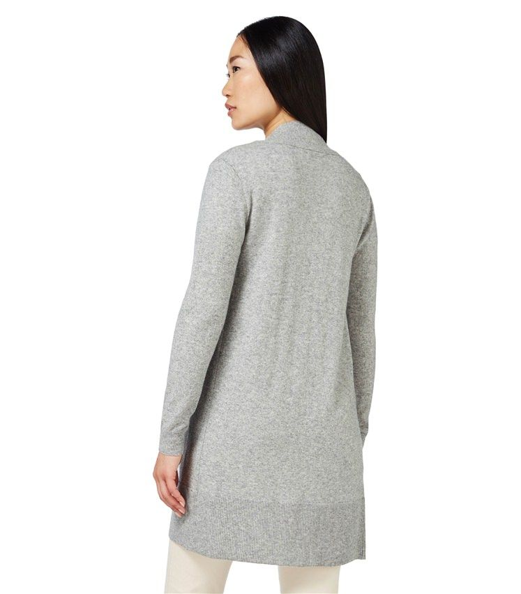 WoolOvers - Womens Cashmere and Merino Edge to Edge Long Cardigan Flannel  Grey 30% Cashmere 65b113d50