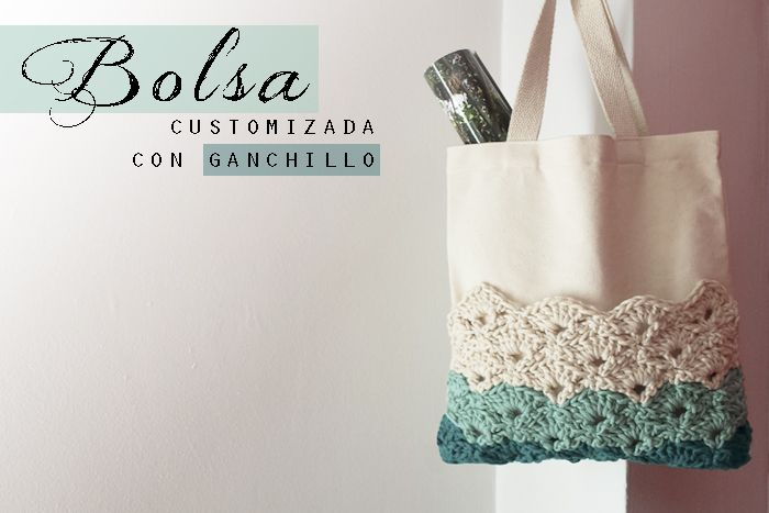 Bolsa customizada con ganchillo a punto de abanico | Costura ...