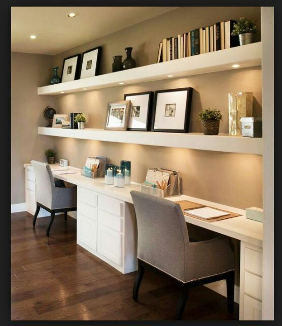 Desk with under lit floating shelves home ideas Home