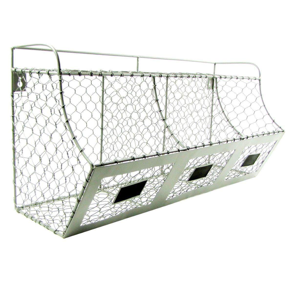 Rustic Chicken Wire Wall Storage 3 Bin Basket Primitive Country ...