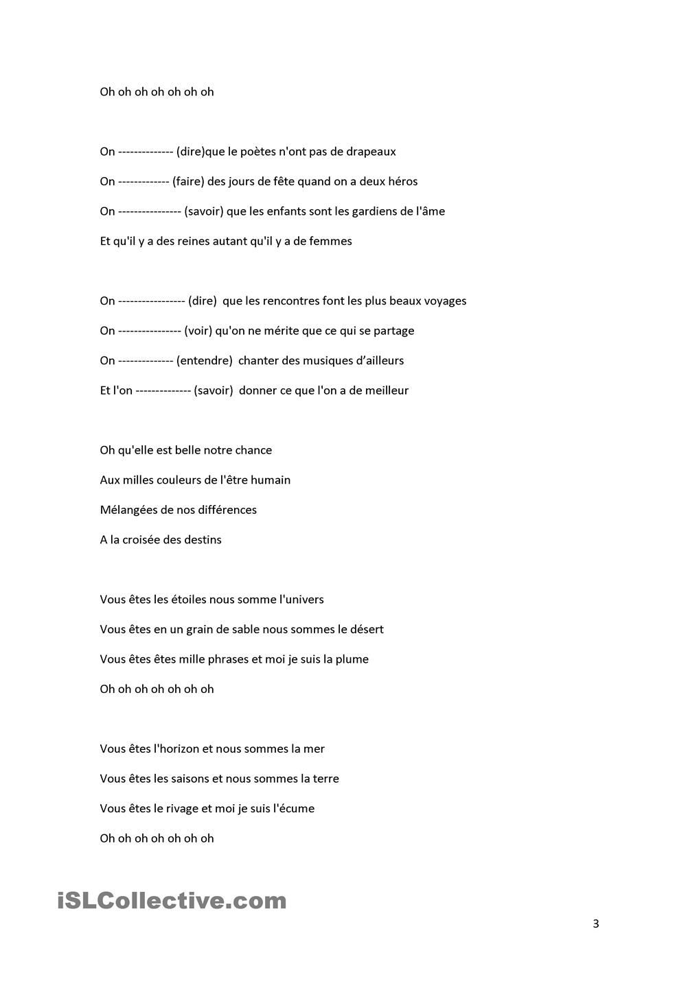 Worksheets Ira Information Worksheet chanson on zaz cours de pinterest worksheets zaz