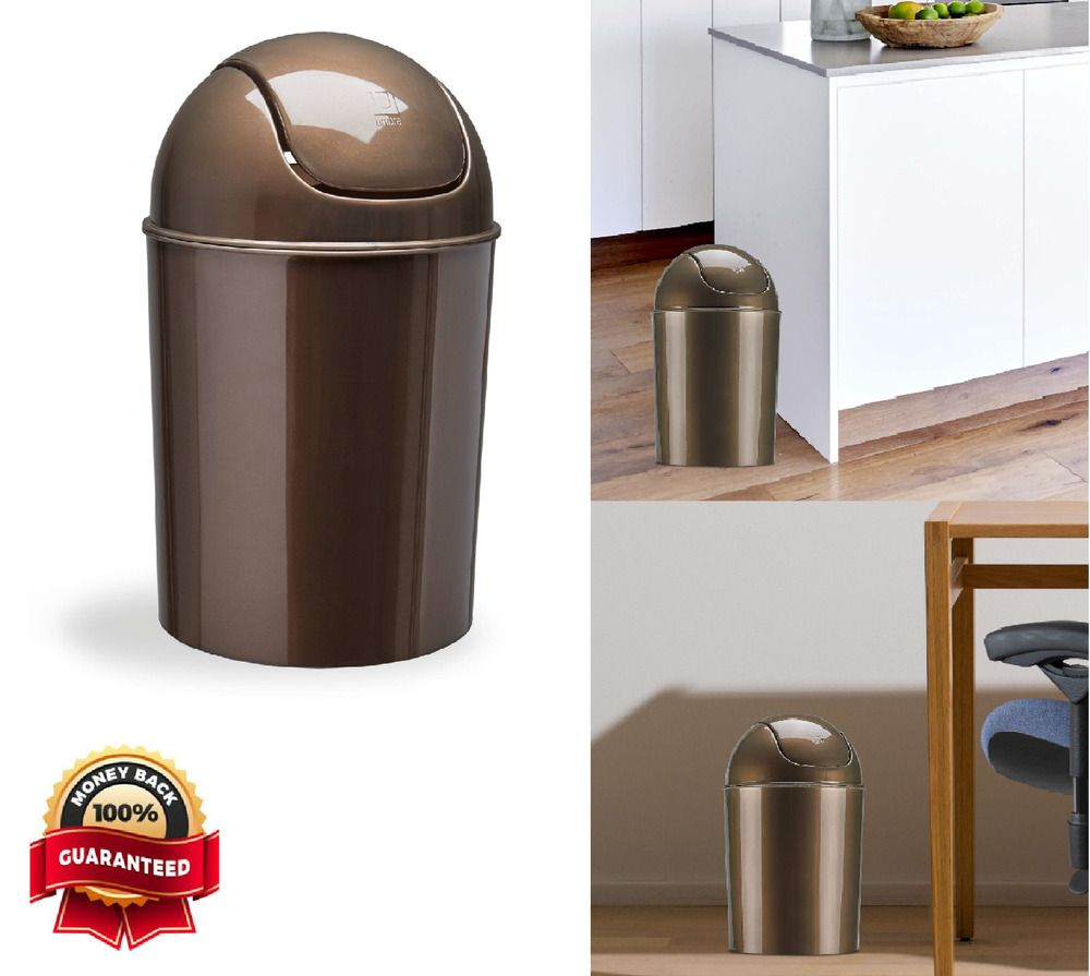 Mini Small Plastic Garbage Can Swing Lid Bronze 1 5 Gallon Indoor Basket Kitchen Umbra Kitchen Trash Cans Trash Can Bronze Kitchen