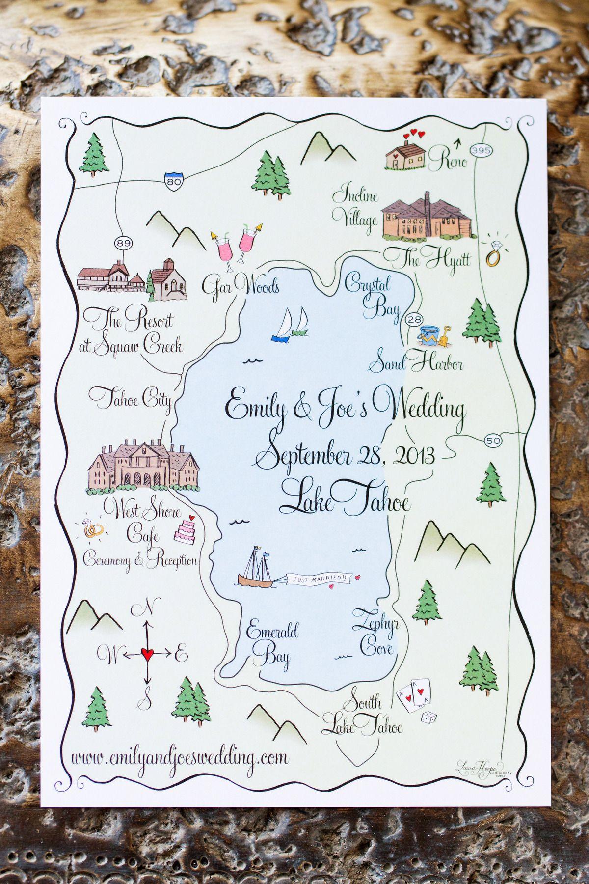 custom map wedding invitation or info card - colour accent, Wedding invitations